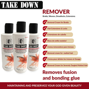 Bundle of 3 Bottles of Take Down Remover Hair Detangler + 1 Free Blue Sky Shampoo