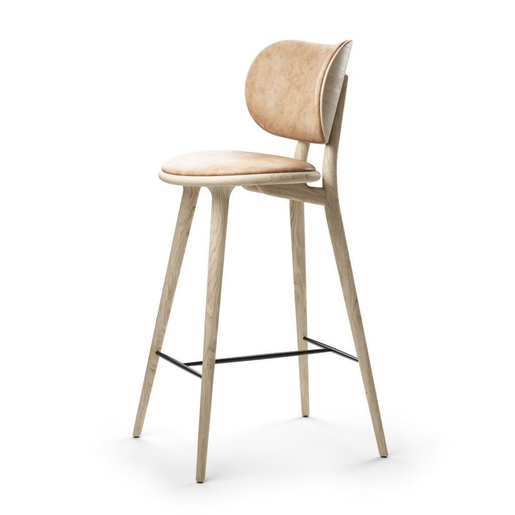 High Stool Backrest | Natural Matt Lacqured oak | 74 cm