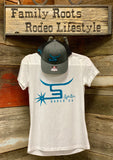 Ladies White T-shirt/Teal Logo