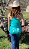 Ladies Racer Back Tank Top-Teal