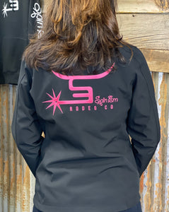 Ladies Black Jacket-Flamingo Pink Logo
