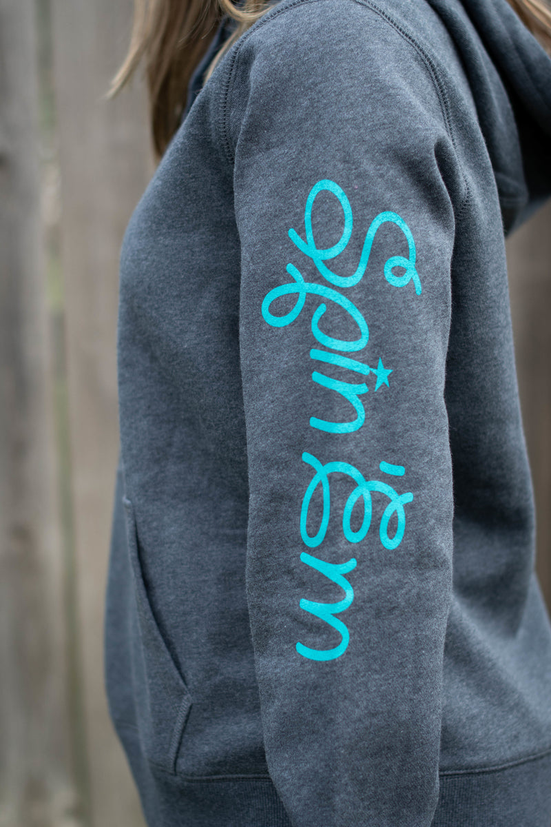 Ladies Teal Charcoal Heathered Hoodie Spin Em Rodeo Co