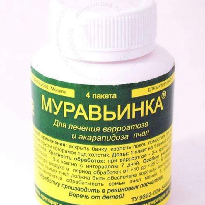 MURAVINKA -  acaricidal drug intended for the treatment of varroatosis and  acarapidosis in bees