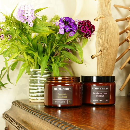 Rebecca Tracey - Black Pepper, Lemon & Geranium and Oak Moss and Sandalwood 3 Wick candles