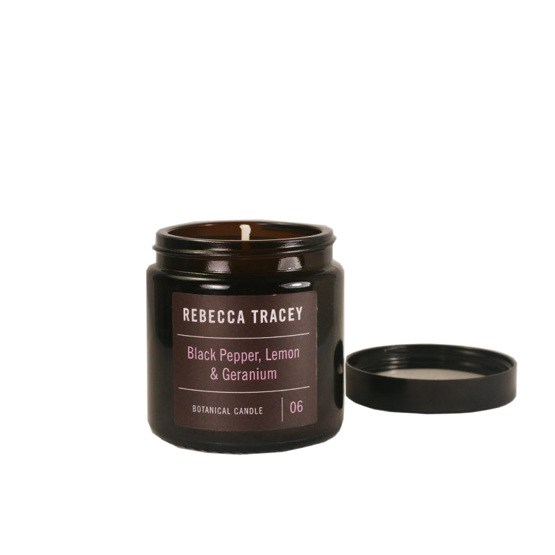 Rebecca Tracey Black Pepper, Lemon & Geranium Travel Candle