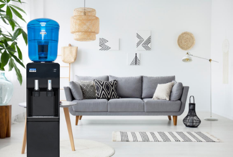 The best home water coolers. Water cooler in boho living room.