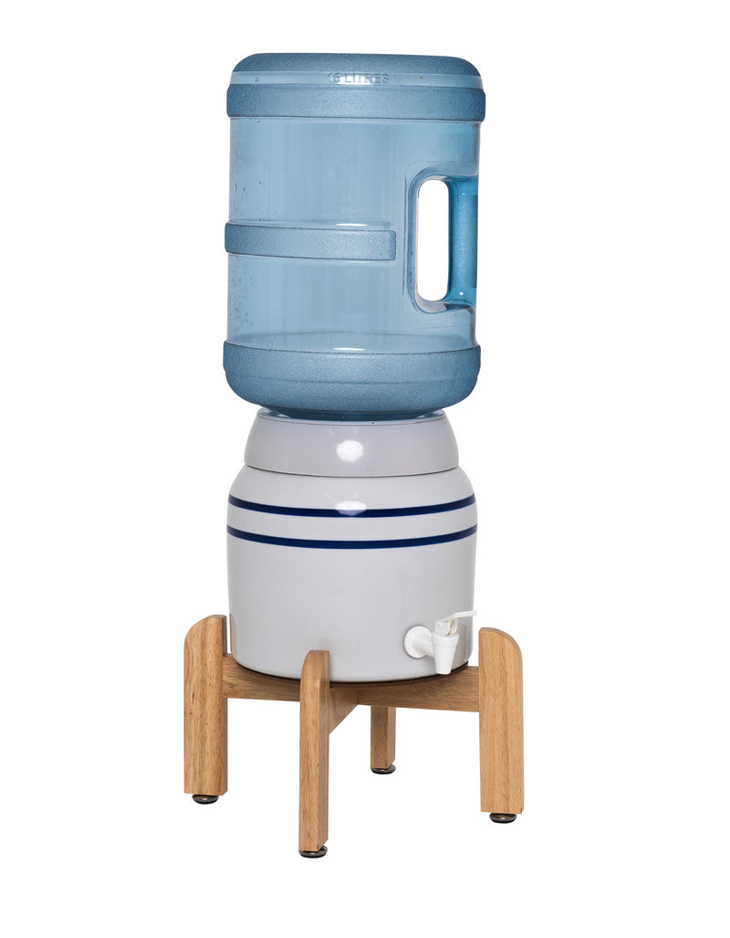Ceramic Dispenser with Faucet and Wooden Stand