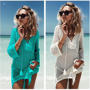 Tassel Crochet Beach Cover Up