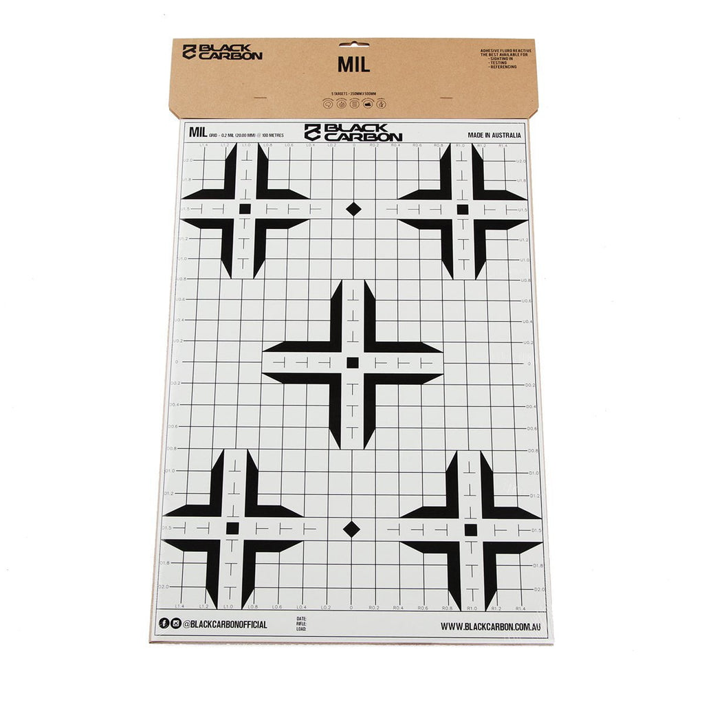 MIL Splatter Adhesive Sight-In Target 5 Per Pack, accessories, Black Carbon, Black Carbon