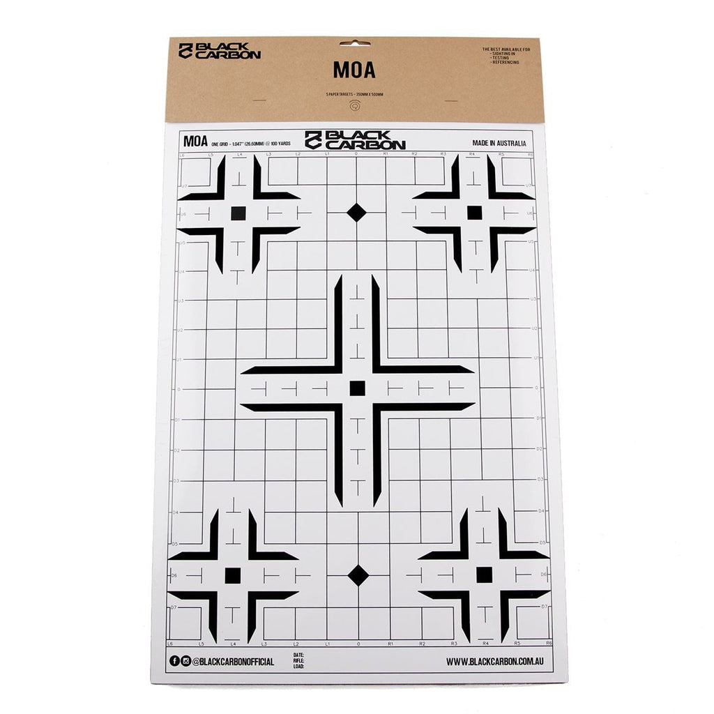MOA Paper Sight-In Target 5 Per Pack, accessories, Black Carbon, Black Carbon