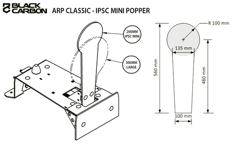 ARP 12mm Mini Popper Target, add on targets, Black Carbon, Black Carbon