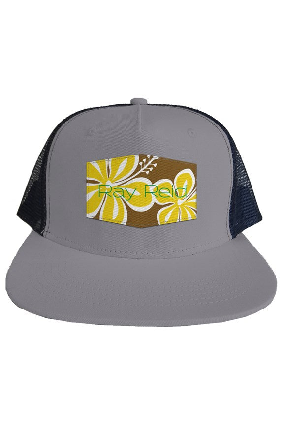 Hibiscus Brown Trucker hat