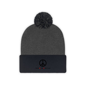 """Peace Love and Pugs"" Pom Pom Beanie"