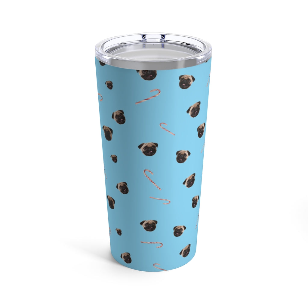 Pug and Candy Canes Tumbler 20oz