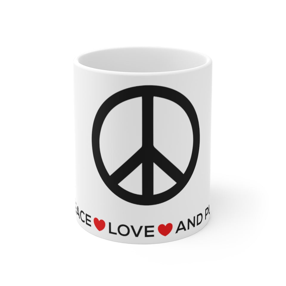 """Peace Love and Pugs"" Mug 11oz"