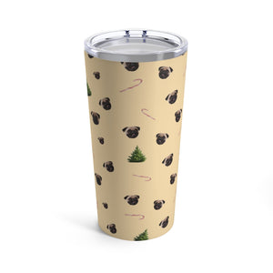 Pug, Candy Canes and Christmas Trees Tumbler 20oz