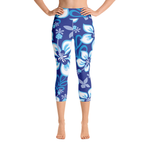Blue Aloha Yoga Capri Leggings