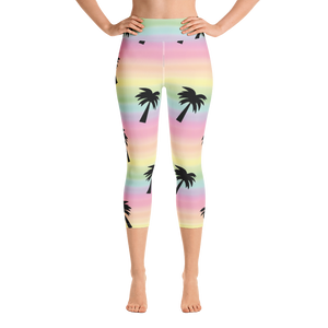 Pastel Palms Yoga Capri Leggings
