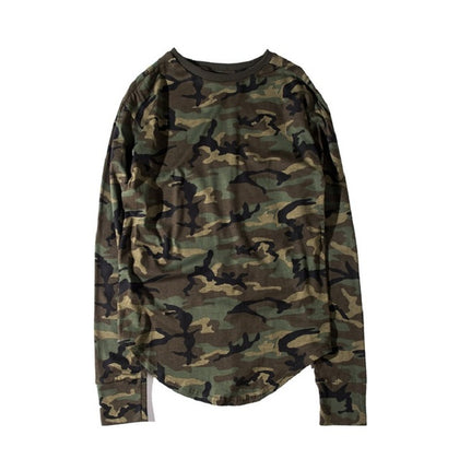 Men's Curved Hem Cotton Camo T-shirt