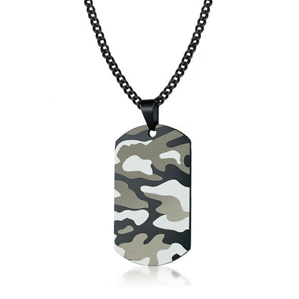 Men's Camo Dog Tag Pendant [Stainless Steel]