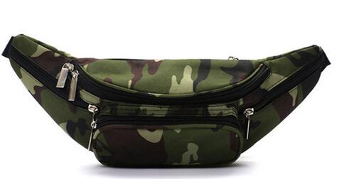 5 Zipper Pockets Camo Waist Bag Belt