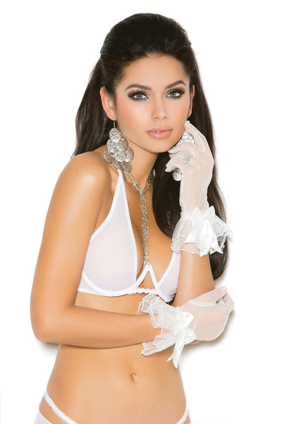 Mesh wrist length gloves with ruffle trim and satin bow.