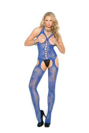 Lace suspender bodystocking with open bust.
