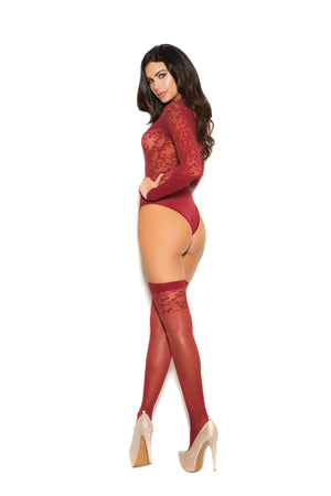 Burgundy Burnout Sexy Sheer Lingerie Set