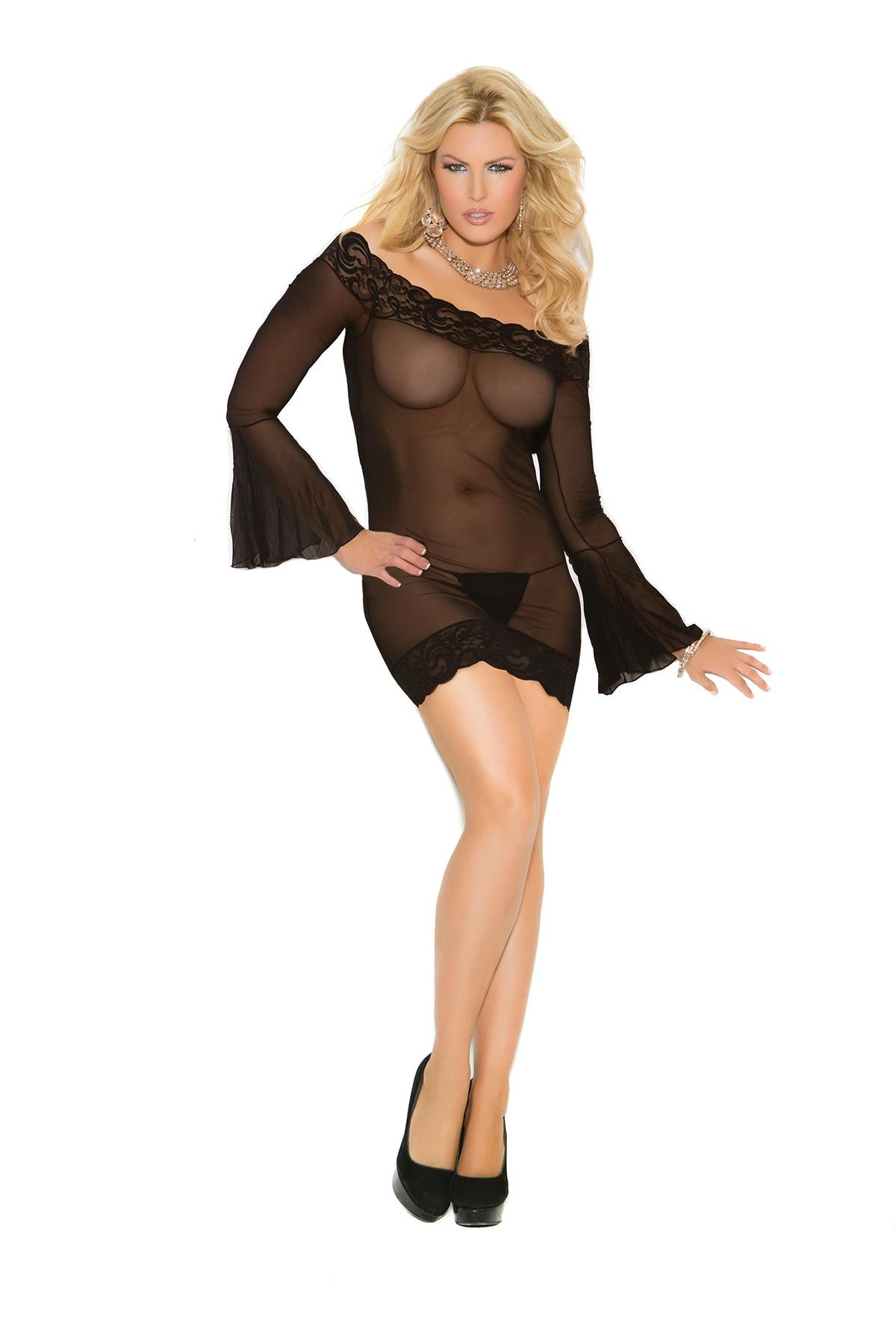 PLUS Bell Sleeves Mesh Mini Lingerie Dress lace