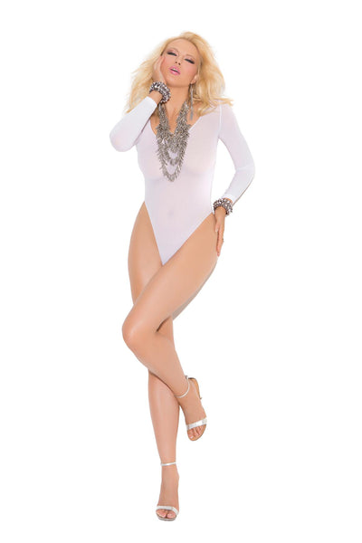 White Sheer Scoop Neck Long Sleeve Bodysuit/Teddy Lingerie