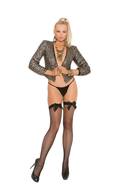 Fishnet thigh hi with satin bow.