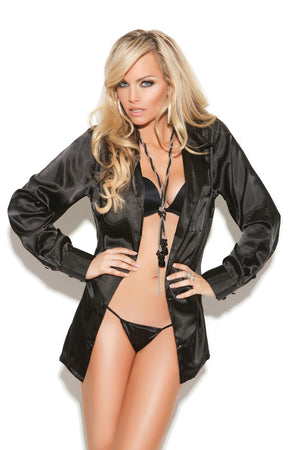 Charmeuse satin long sleeve sleep shirt with button front.