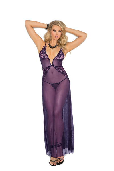 """Very Violet"" Mesh Night Gown Sexy Lingerie Set"