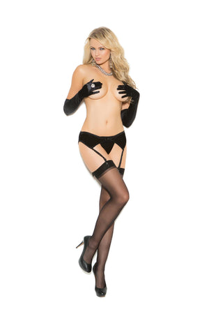 Stretch Satin Garter Belt Black Lingerie