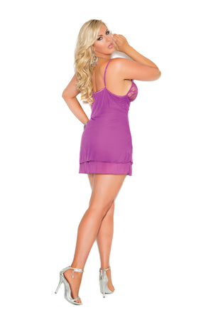 PLUS Mesh 2 Layered Chemise Underwired Lingerie Chemise