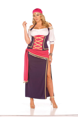 Gypsy Maiden - 5 pc. costume includes off the shoulder halter top, skirt, sash, head scarf and bracelets.