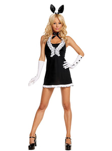 Black Tie Bunny - 5 pc. costume includes dress, vest, gloves, neck piece and bunny ears head band.