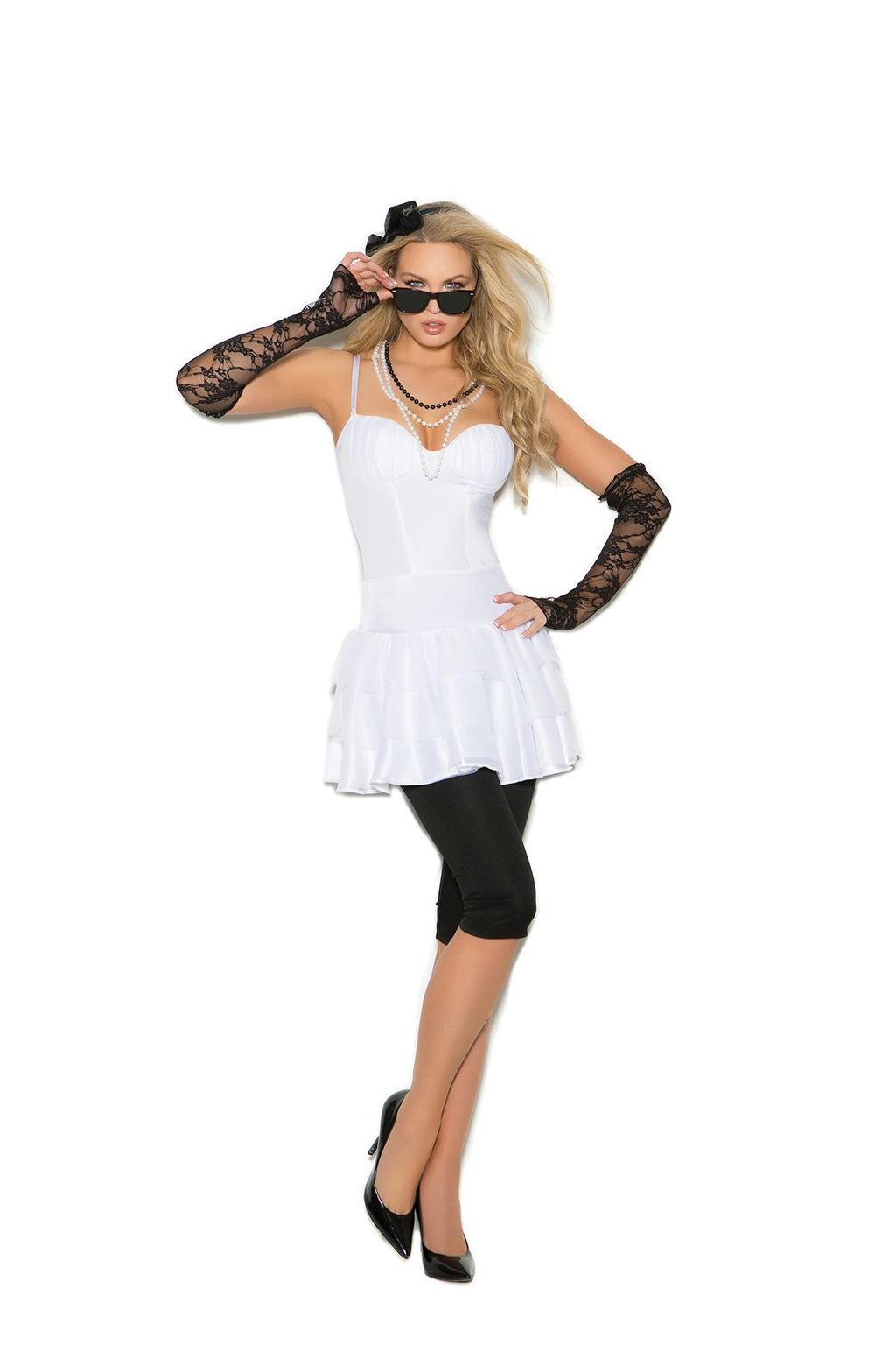 Rock Star - 6 pc. costume includes dress, leggings, lace gloves, pearl necklace, hair piece and sunglasses.