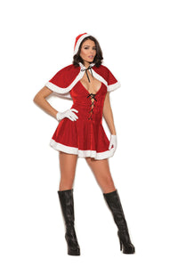 Mrs. Santa - 2 pc. costume includes velvet halter dress and hooded cape.