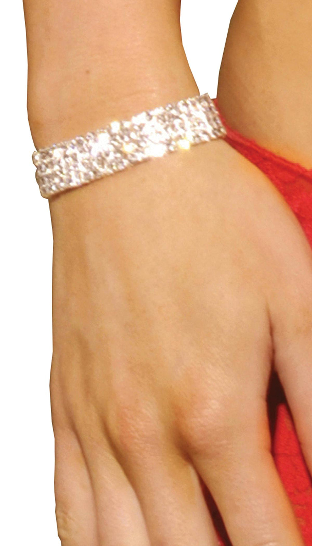Rhinestone stretch bracelet with four rows.