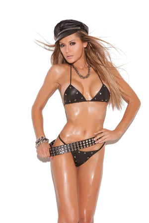 Leather studded bra and g-string.  *Available Boxed