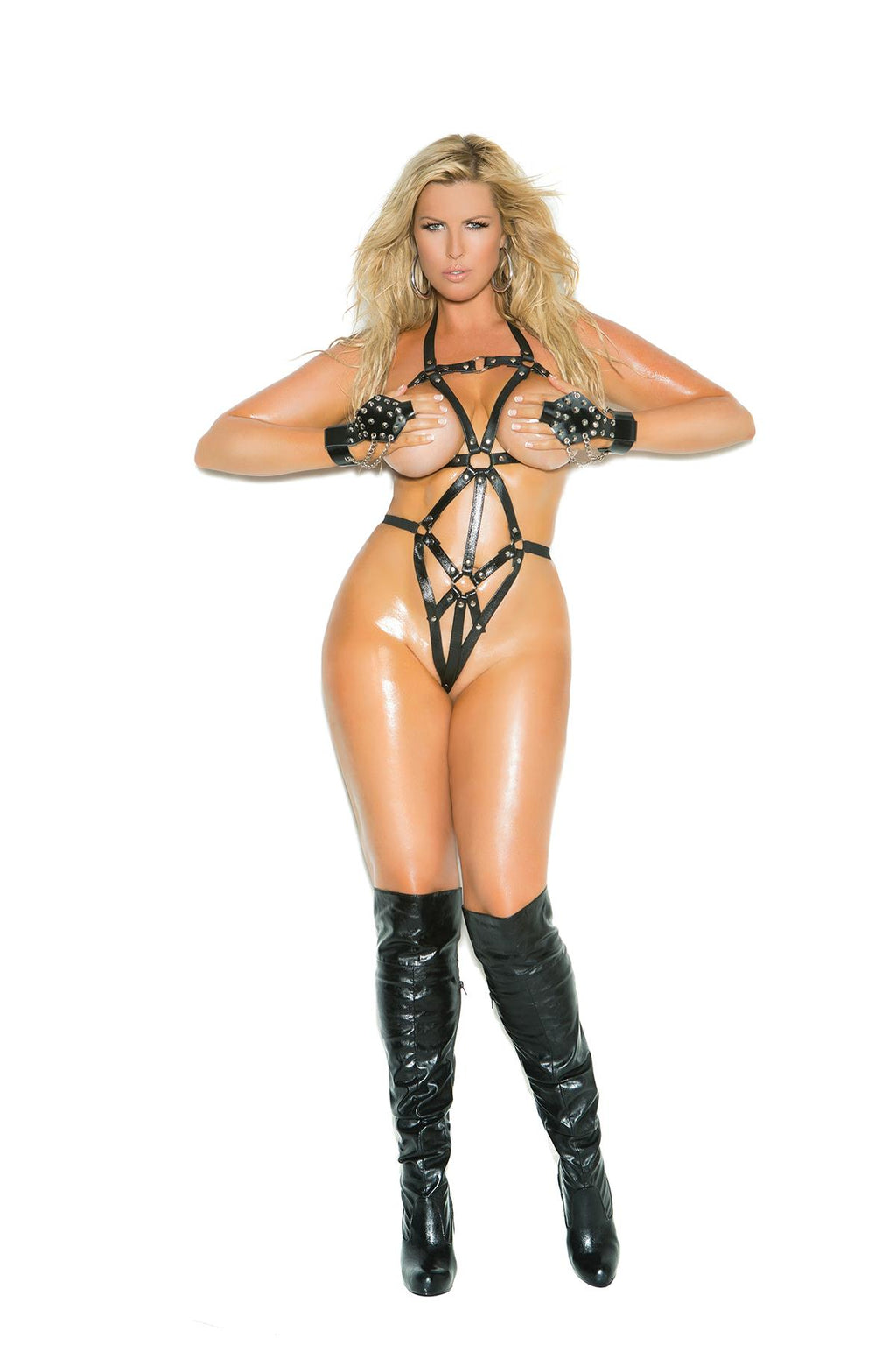 Thong back leather strappy teddy with O ring.