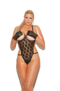 Open bust lace teddy trimmed in nail heads and leather.  *Available Boxed