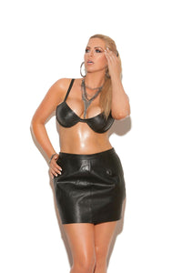 Underwire leather bra with adjustable straps and hook and eye back closure.