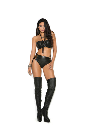 Rocker Babe 100% Leather Top & Short Lingerie Set