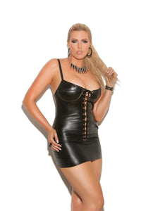 Lace up leather mini dress. Adjustable straps, underwire bra and leather back.