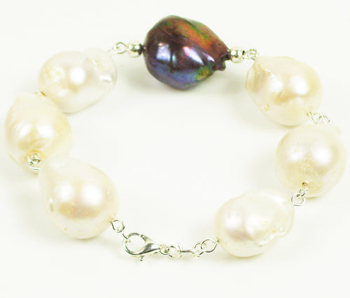 Baroque black and white Pearl bracelet in Sterling Silver