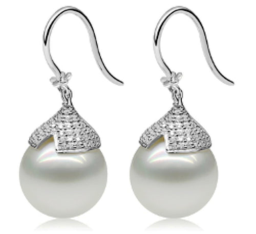 14kt. white gold diamond and south sea pearl earrings