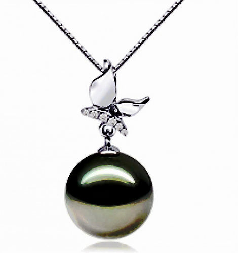14kt tahitian pearl pendant with diamond accents
