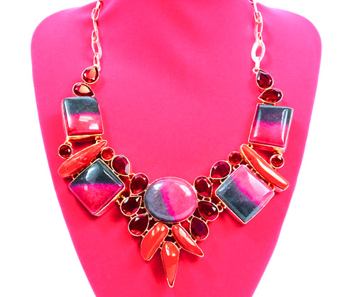 Rhodonite-coral-rubelite stone necklace in sterling silver hand crafted